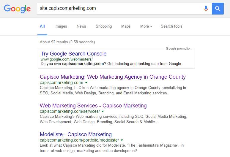 Image of Search Engine Result page for Capiscomarketing