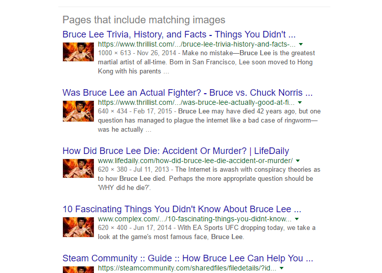Google image search for Bruce Lee