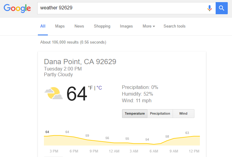 How to use Google's search engine weather feature
