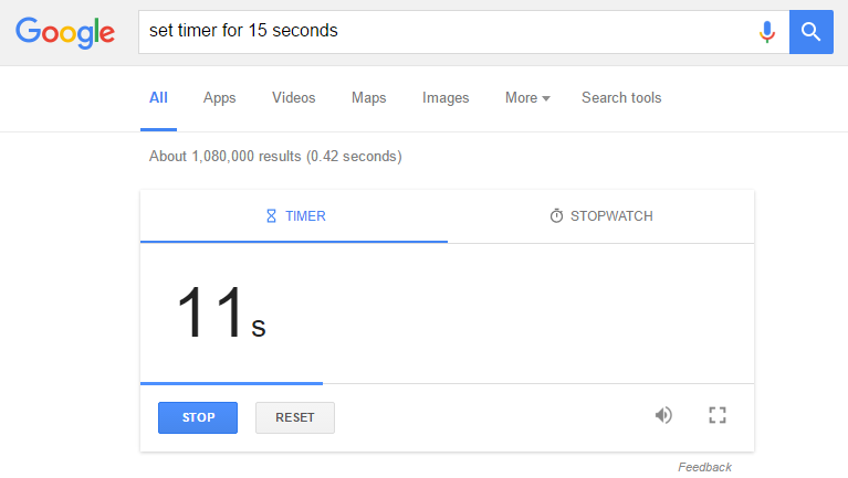 Image of Google's timer feature