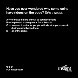 why do coins have ridges fun fact friday multiple choice